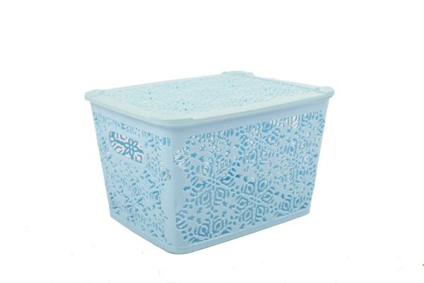 mini baskets, lace, baby blue, toiletires and bathroom accessories.