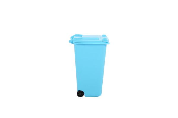 Small blue trash can rubbish bin with two wheels