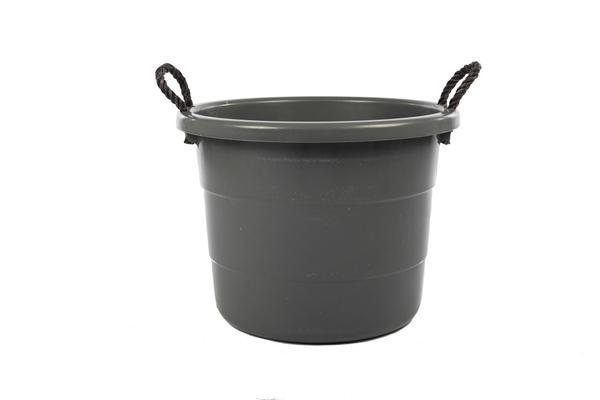 black cleaning tub basin with two rope handles 25l