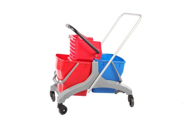 Double wringer plastic red and blue. Cleaning buckets.